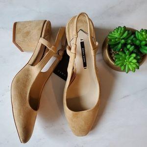 Zara suede leather heels shoes pumps 6.5